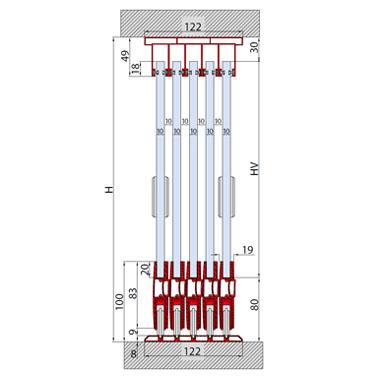 SYSTEM FOR 5 TELESCOPIC SLIDING DOORS