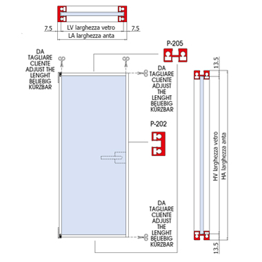 Swing door with aluminium panel in anodized alumin