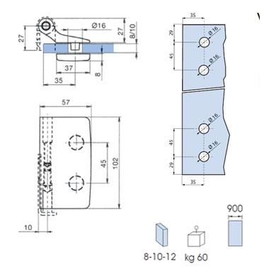 HINGE SLIM height adjustable for top/ bottom