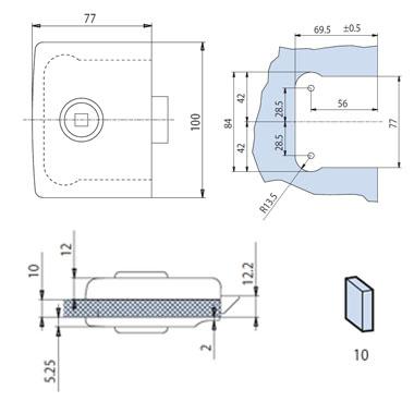 Minima Lock - Latch Function - Satin Chrome Finish