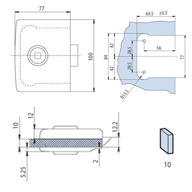 Minima Lock - Latch Function - Polished Brass