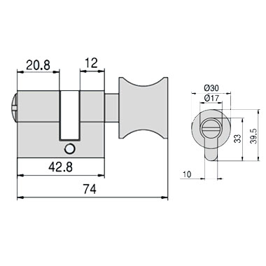 W.C. Cylinder - with knob for lock side - CS