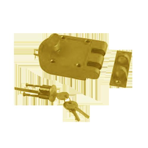 Buy Rim Lock Single Cylinder Polished Brass Finish