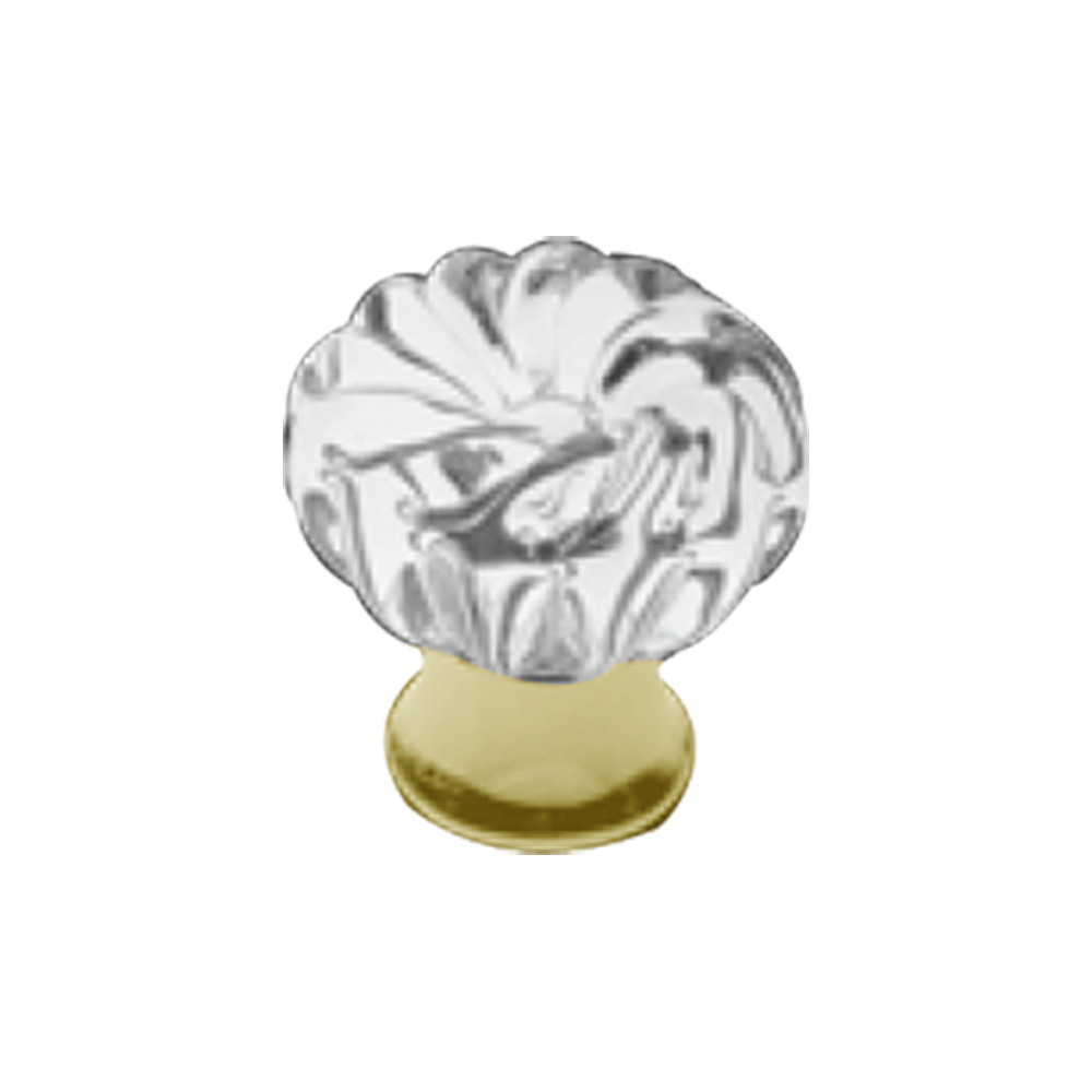 Glass furniture knob on brass base matt gold finish dia 25mm