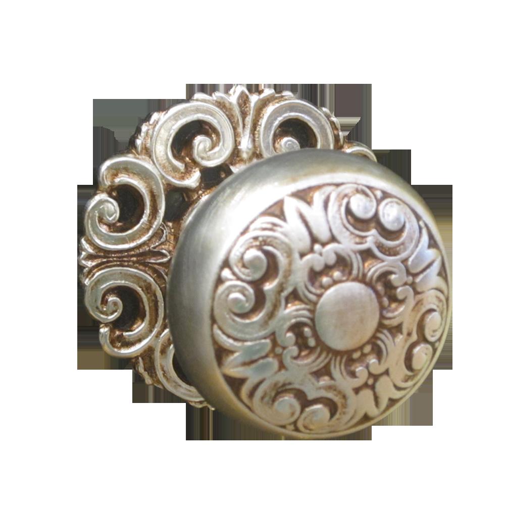 Buy Mosaccio Door Knob With Rose Matt Silver Old Gold