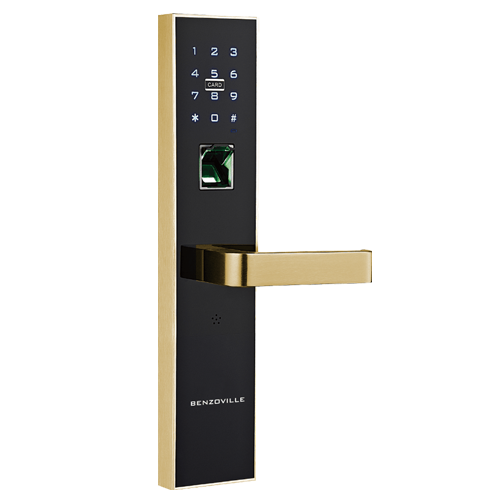 Buy Fingerprint Door Lock - Black with Gold Finish Online in