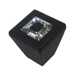 RING White Swarovski Cabinet Knob - 30mm  - Black Matt Finish