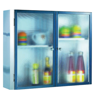 Frosted Glass Multi Storage Cabinet - 40X60X13cm - Chrome Plated