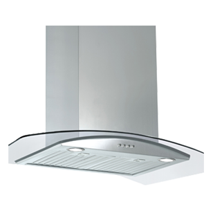 Wall Mounted Built-in Chimney Platinum - 60cm - Glass & Stainless Steel Finish