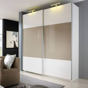Wardrobe Sliding Fitting for 2 Doors (Overlap) 70 Kg with 3 Mtr track - Made in Italy