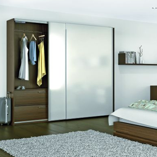 Wardrobe Sliding Fitting for 2 Doors (Overlap) with Soft Close and Self Close - 70 Kg with 3 Mtr track - Made in Italy