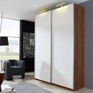 Wardrobe Sliding Fitting for 2 Doors (Overlap) with Soft close 100 Kg with 2 Mtr track - Made in Italy