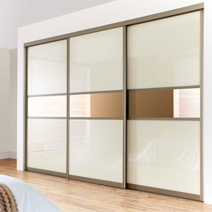 Wardrobe Sliding Fitting for 3 Doors (Overlap) with Soft close & Self Close - 100 Kg with 4 Mtr track - Made in Italy