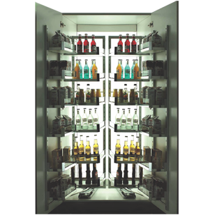 Glass Pantry with Silent Soft Closing 12 Baskets - 6 layers - 450mm