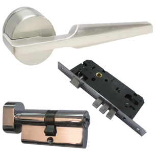 Door Handles with Lock - CP Finish