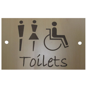 TOILETS Signage - 6X9 Inch - Light Wood Finish