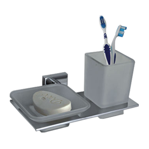 Vital Soap Dish with Tumbler - Chrome Plated Finish