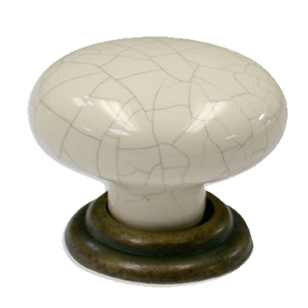Cabinet Knob - 34mm - Beige/Grey with Antique Brass Trumbled Finish
