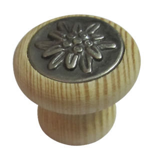 Cabinet Knob - 30mm - Pine Natural & Antique Silver Finish