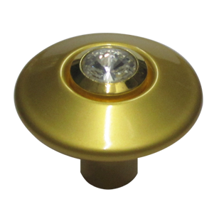 Rivoli Cabinet Knob - Crystal with Satin Gold Finish - 32mm