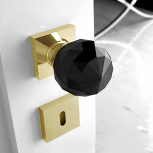Crystal Door Knob - 50mm - Black Crystal/Polished Brass Finish - GEO