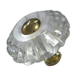 Diamond Crystal Cabinet Knob - Size - 35mm - Transparent/Gold Finish