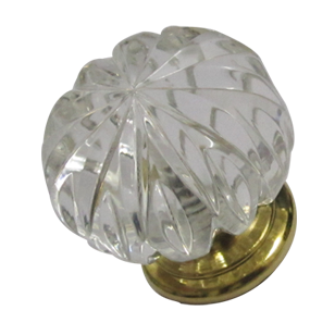Crystal Cabinet Knob - Size - 35mm - Transparent/Gold Finish