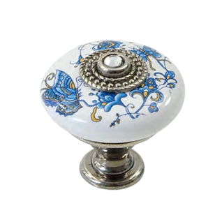 Cabinet Knob - 32mm - white with butterfly - antique silver - crystal clear 4 mm