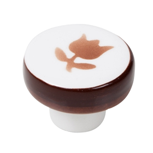 Furniture Knob - Porcelain Tulipan Brown Hand Painted - 39mm