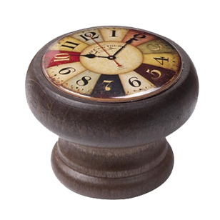 Coloured Clock Walnut Colour Wood Knob