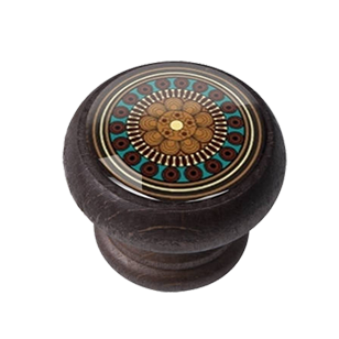 Arabesque Design Walnut Colour Wood Knob