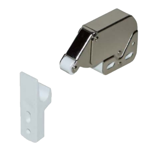 Roller Catch - Mini Latch with counterpart - White with 4 turns spring - Nickel Plated Finish