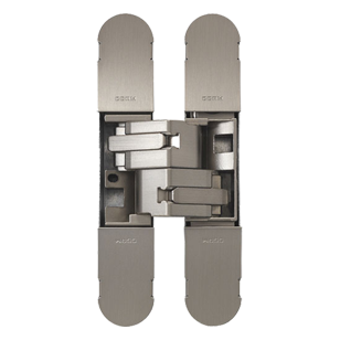 Invisible Adjustable Hinge with Screws for Doors - Satin Nickel Finish - 134X24mm