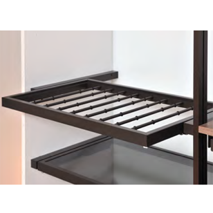 Pull out aluminium frame with trousers rack - 800mm - Brown powder coated finishing + Wardrobe side spacers