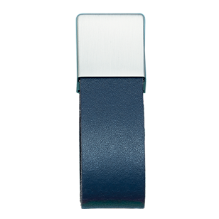 SAFARI Cabinet Pull - 16mm - Leather Navy Blue/Inox Look Finish