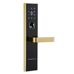 Fingerprint Door Lock - Black with Gold Finish
