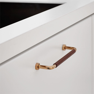 LOUNGE Cabinet Handle - 160mm - Gold with Brown Leather Finish