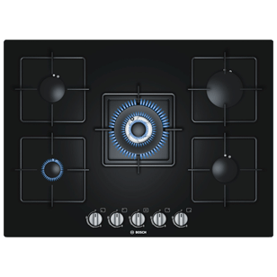 Bosch Gas Hobs with Integrated Controls - 70 cm - 5 Burner - Black Tempered Glass