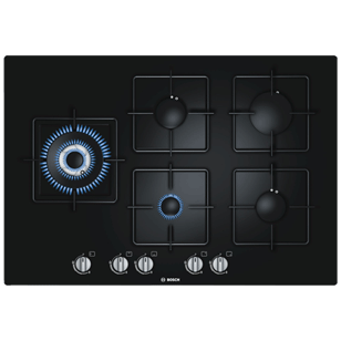 Gas Hobs with Integrated Controls - 75 cm - 5 Burner - Black Tempered Glass