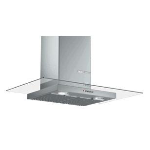 Wall Mounted Chimney with Glass Hood - 90 cm - Stainless Steel Finish