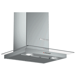 Wall Mounted Chimney with Glass Hood - 60 cm - Stainless Steel Finish