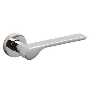 ALA Door Lever handle on rose - Brass - Bright Bio Chrome Finish