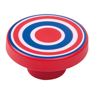 Cabinet Knob with Red and Blue Circles