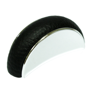 Cabinet Leather Knob - Bright Chrome With  Black Leather