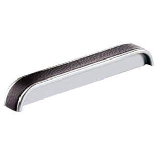 Cabinet Leather Handle - Bright Chrome With Black Leather