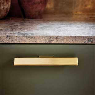 HAMMER Cabinet Handle - Zamak Brushed Brass Finish - 32mm