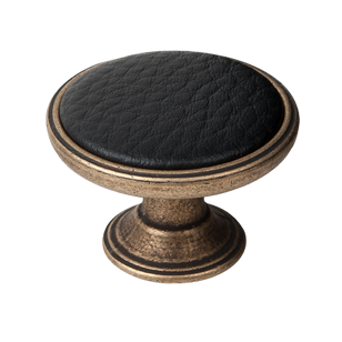 Black Leather Cabinet Knob - Antique Brass Finish - 37mm