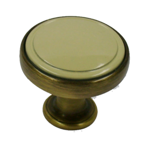 Cabinet Knob - 30mm - Antique Brass Brushed with Beige Finish