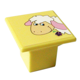 Yellow Colour Sheep Design Kids Cabinet Knob