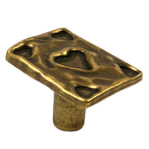 STACCARO Playing Card Heart Cabinet Knob - 33mm - Antique Brass Finish